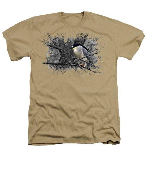 Black Crowned Night Heron 001 Heathers T-Shirt