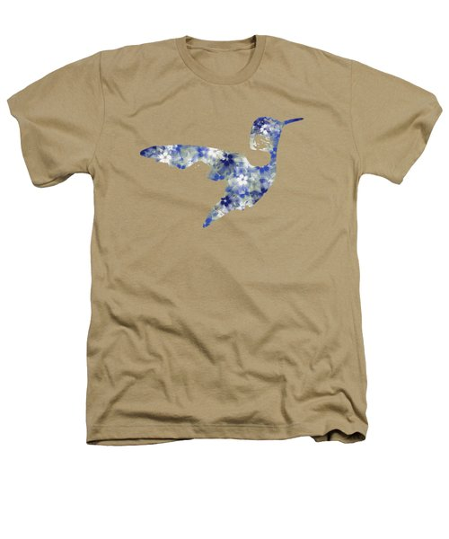 Blue Floral Hummingbird Art Heathers T-Shirt