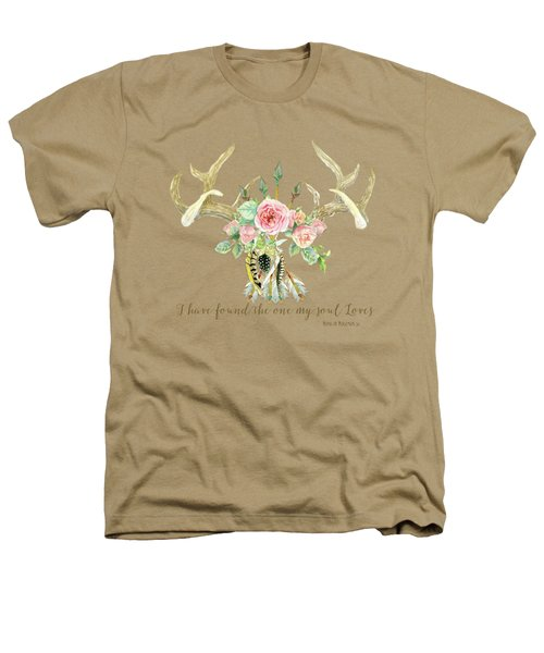 Boho Love - Deer Antlers Floral Inspirational Heathers T-Shirt by Audrey Jeanne Roberts