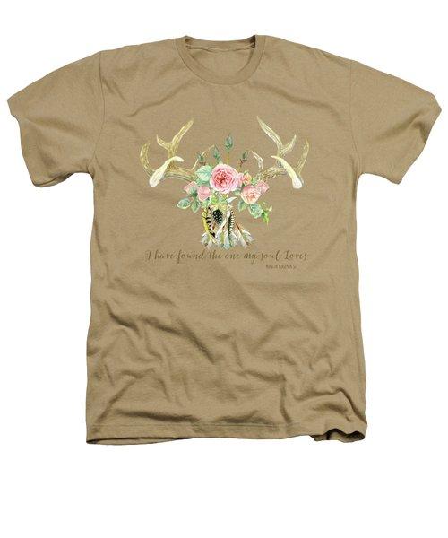 Boho Love - Deer Antlers Floral Inspirational Heathers T-Shirt