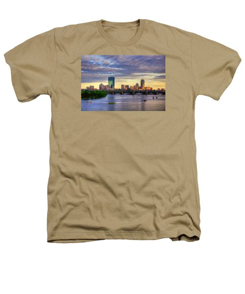 Boston Skyline Sunset Over Back Bay Heathers T-Shirt by Joann Vitali