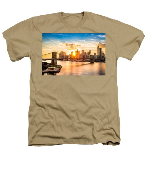 Brooklyn Bridge And The Lower Manhattan Skyline At Sunset Heathers T-Shirt