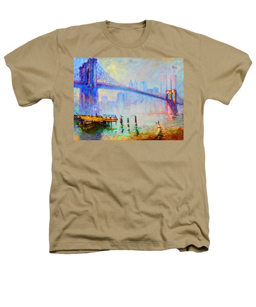 Brooklyn Bridge In A Foggy Morning Heathers T-Shirt by Ylli Haruni