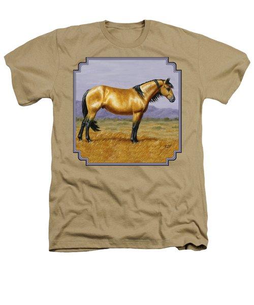 Buckskin Mustang Stallion Heathers T-Shirt by Crista Forest