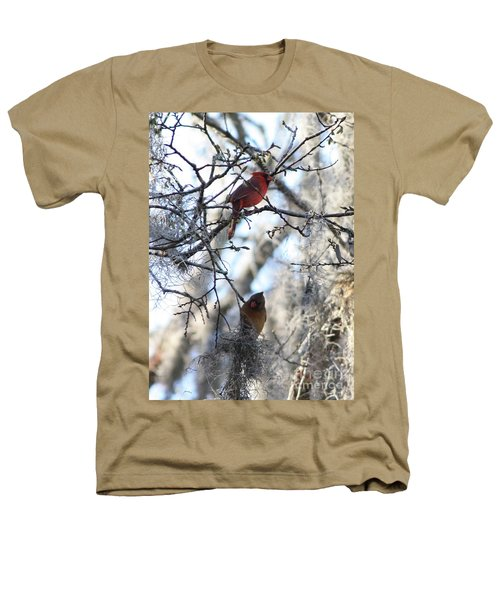Cardinals In Mossy Tree Heathers T-Shirt