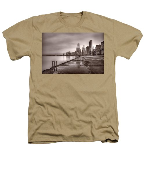 Chicago Foggy Lakefront Bw Heathers T-Shirt by Steve Gadomski
