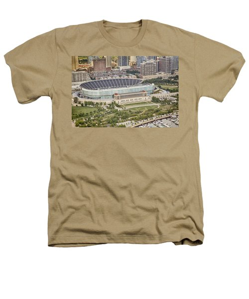 Chicago's Soldier Field Aerial Heathers T-Shirt by Adam Romanowicz