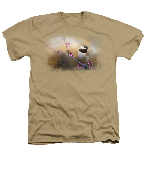 Chickadee And Pink Blooms Heathers T-Shirt