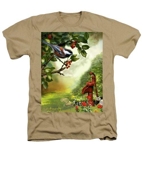 Chickadee Visiting The Water Pump Heathers T-Shirt by Regina Femrite