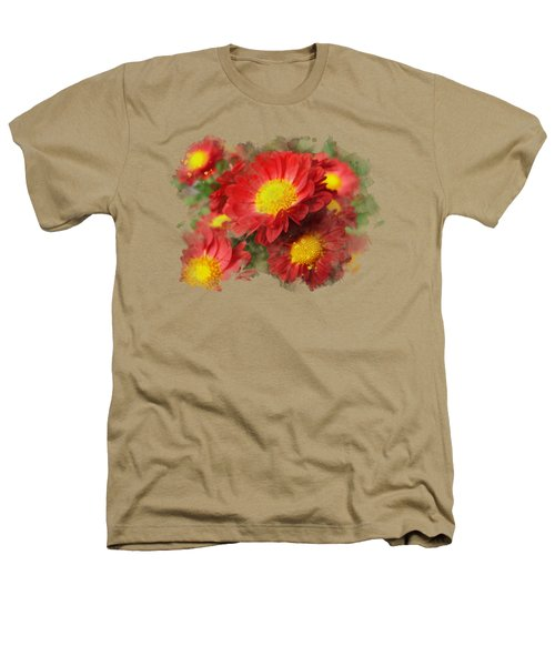 Chrysanthemum Watercolor Art Heathers T-Shirt by Christina Rollo