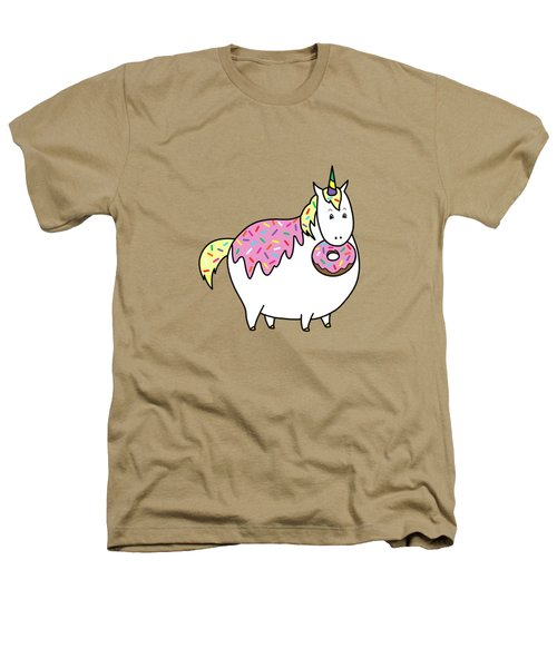 Chubby Unicorn Eating Sprinkle Doughnut Heathers T-Shirt by Crista Forest