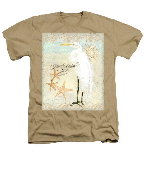 Coastal Waterways - Great White Egret 3 Heathers T-Shirt by Audrey Jeanne Roberts