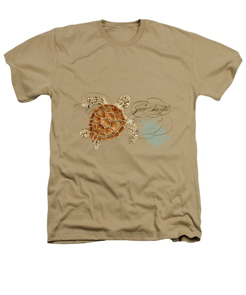Coastal Waterways - Green Sea Turtle Rectangle 2 Heathers T-Shirt by Audrey Jeanne Roberts