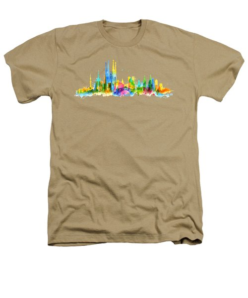 Color Barcelona Skyline 01 Heathers T-Shirt by Aloke Creative Store