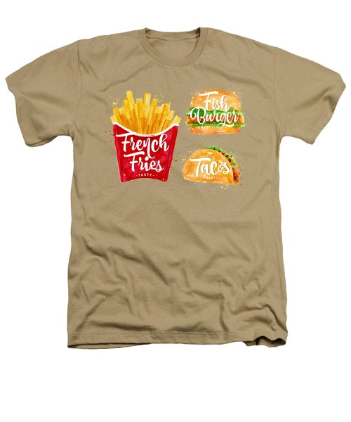 Color French Fries Heathers T-Shirt by Aloke Creative Store