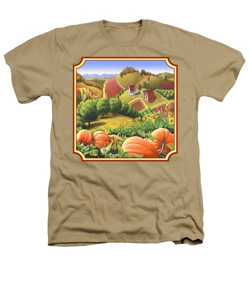 Country Landscape - Appalachian Pumpkin Patch - Country Farm Life - Square Format Heathers T-Shirt by Walt Curlee