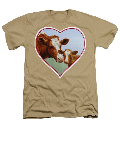 Cow And Calf Pink Heart Heathers T-Shirt by Crista Forest