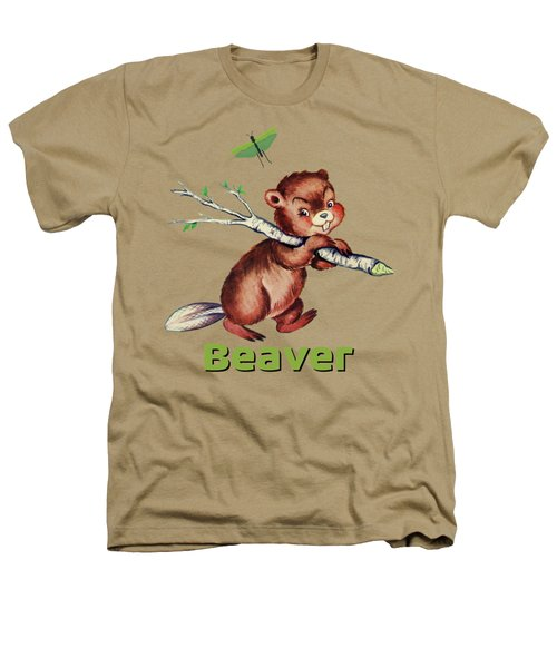 Cute Baby Beaver Pattern Heathers T-Shirt by Tina Lavoie