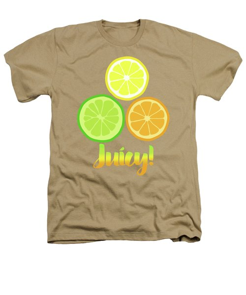 Cute Juicy Orange Lime Lemon Citrus Fun Art Heathers T-Shirt by Tina Lavoie