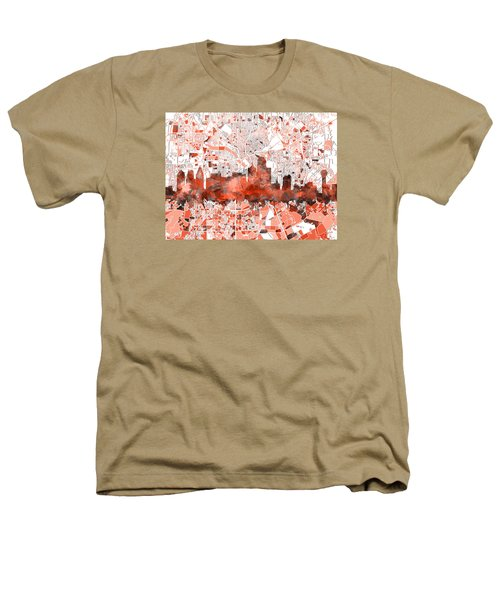 Dallas Skyline Map Red Heathers T-Shirt