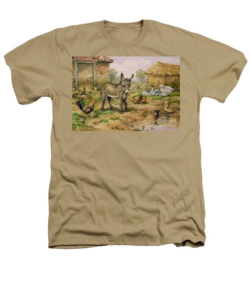 Donkey And Farmyard Fowl  Heathers T-Shirt by Carl Donner