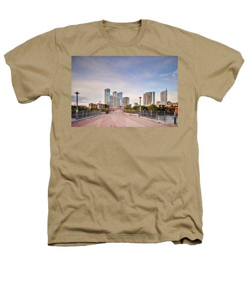 Downtown Austin Skyline From Lamar Street Pedestrian Bridge - Texas Hill Country Heathers T-Shirt by Silvio Ligutti