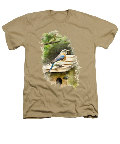 Eastern Bluebird Watercolor Art Heathers T-Shirt by Christina Rollo