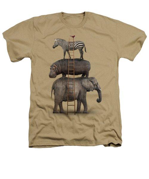 Elephant, Hippo, Zebra Animal Stack With A Cardinal Heathers T-Shirt