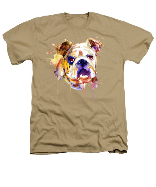 English Bulldog Head Heathers T-Shirt by Marian Voicu