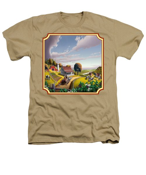 Farm Americana - Farm Decor - Appalachian Blackberry Patch - Square Format - Folk Art Heathers T-Shirt