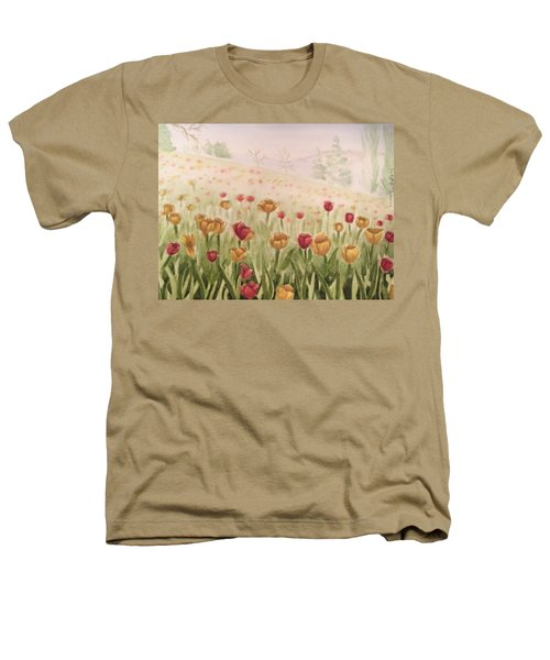 Field Of Tulips Heathers T-Shirt by Kayla Jimenez