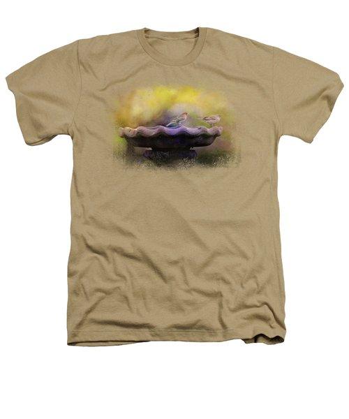 Finches On The Bird Bath Heathers T-Shirt by Jai Johnson