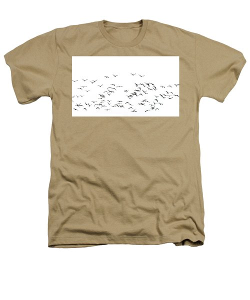 Flock Of Beautiful Migratory Lapwing Birds In Clear Winter Sky I Heathers T-Shirt