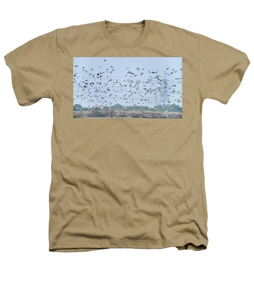 Flock Of Beautiful Migratory Lapwing Birds In Clear Winter Sky Heathers T-Shirt