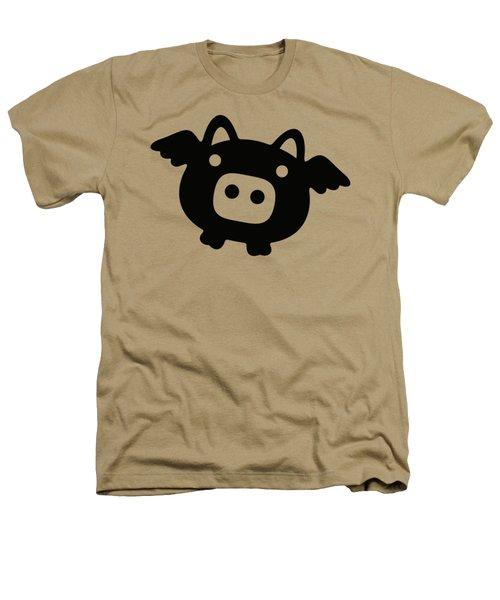 Flying Pig - Black Heathers T-Shirt by Julia Jasiczak