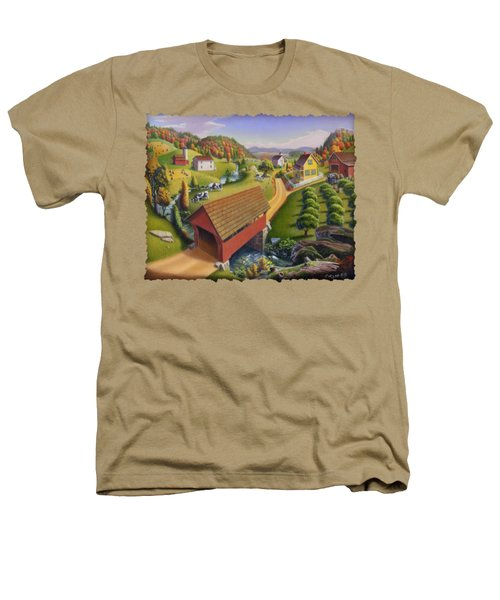 Folk Art Covered Bridge Appalachian Country Farm Summer Landscape - Appalachia - Rural Americana Heathers T-Shirt