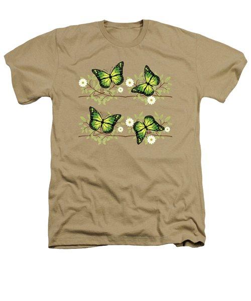 Four Green Butterflies Heathers T-Shirt
