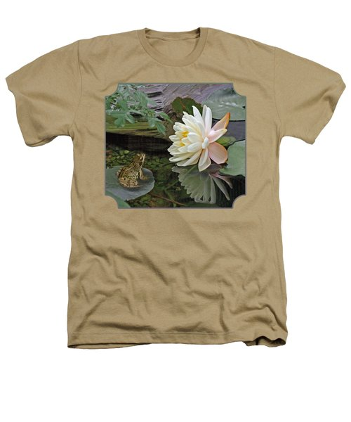 Frog In Awe Of White Water Lily Heathers T-Shirt by Gill Billington