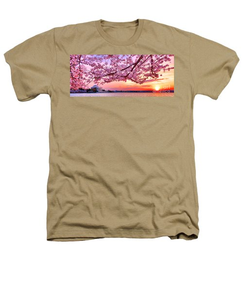 Glorious Sunset Over Cherry Tree At The Jefferson Memorial  Heathers T-Shirt