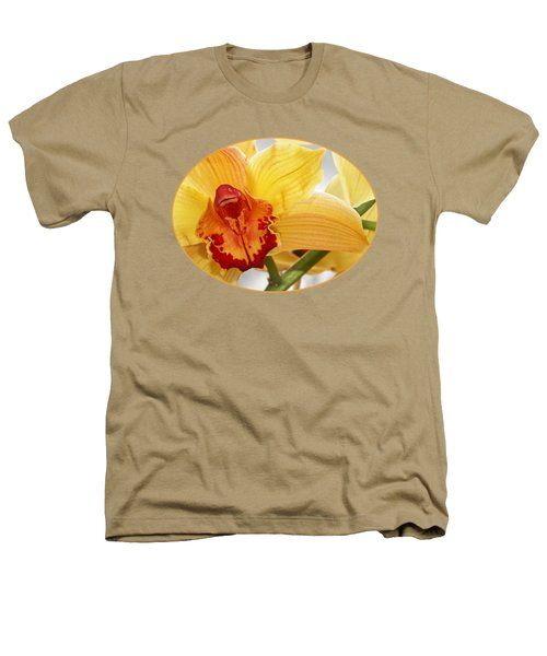 Golden Cymbidium Orchid Heathers T-Shirt by Gill Billington
