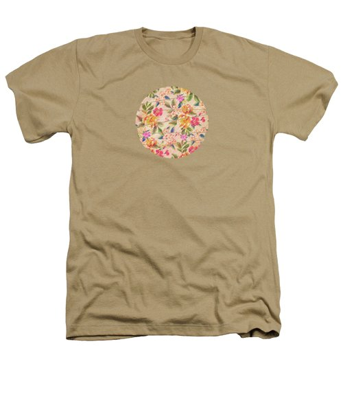 Golden Flitch Digital Vintage Retro  Glitched Pastel Flowers  Floral Design Pattern Heathers T-Shirt by Philipp Rietz