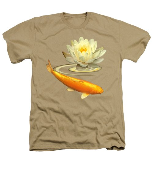 Golden Harmony - Koi Carp With Water Lily Heathers T-Shirt