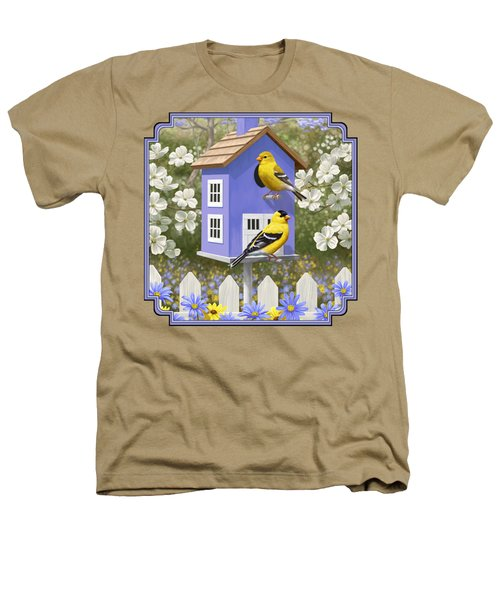 Goldfinch Garden Home Heathers T-Shirt by Crista Forest