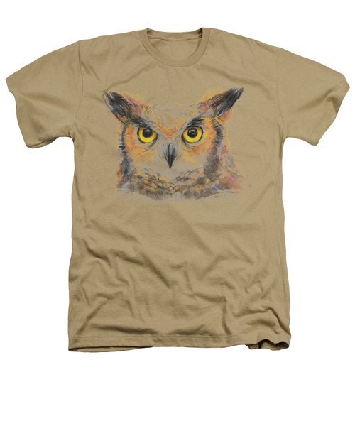 Great Horned Owl Watercolor Heathers T-Shirt by Olga Shvartsur