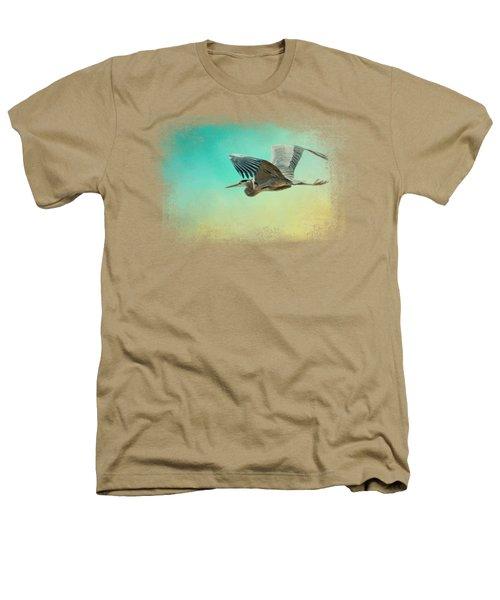 Heron At Sea Heathers T-Shirt by Jai Johnson