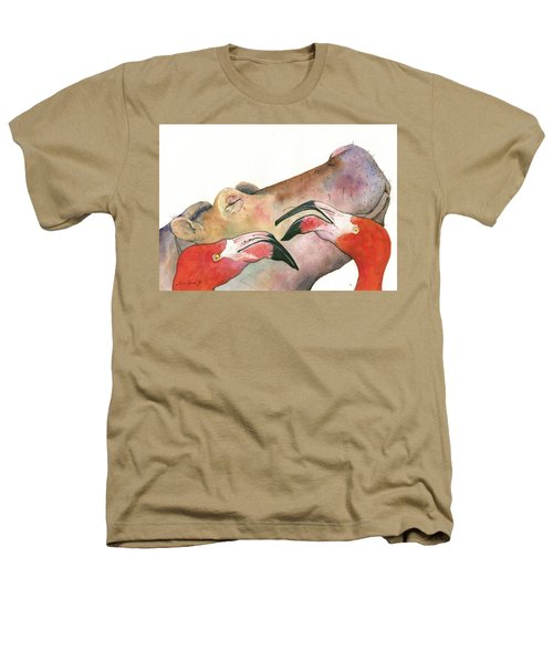 Hippo With Flamingos Heads Heathers T-Shirt