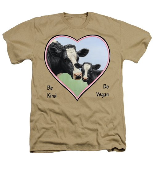 Holstein Cow And Calf Pink Heart Vegan Heathers T-Shirt by Crista Forest