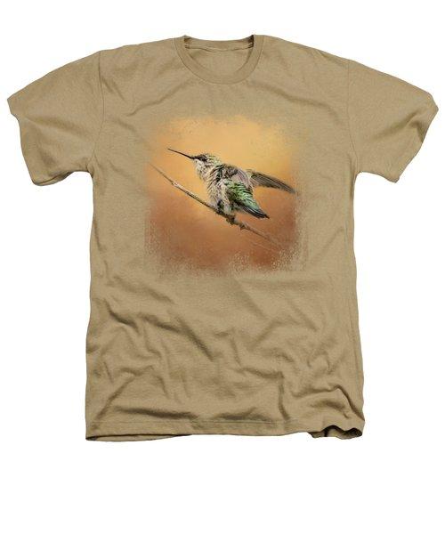 Hummingbird On Peach Heathers T-Shirt by Jai Johnson