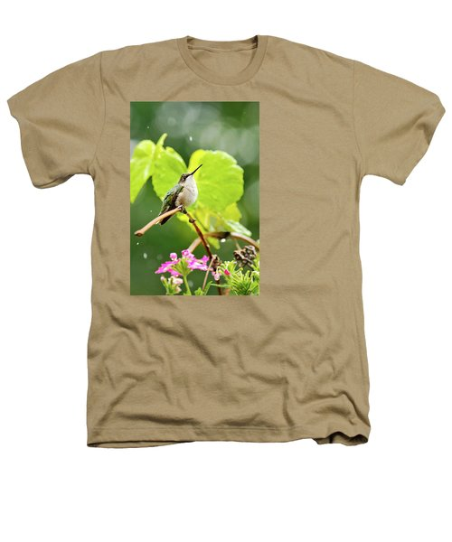 Hummingbird On Vine In The Rain Heathers T-Shirt