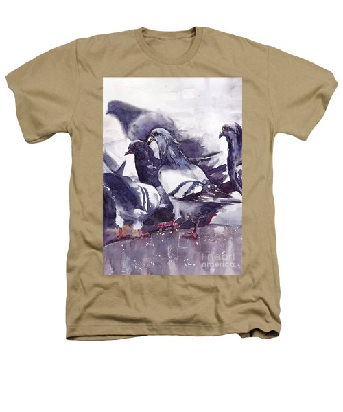Hungry Pigeons Watercolor Heathers T-Shirt